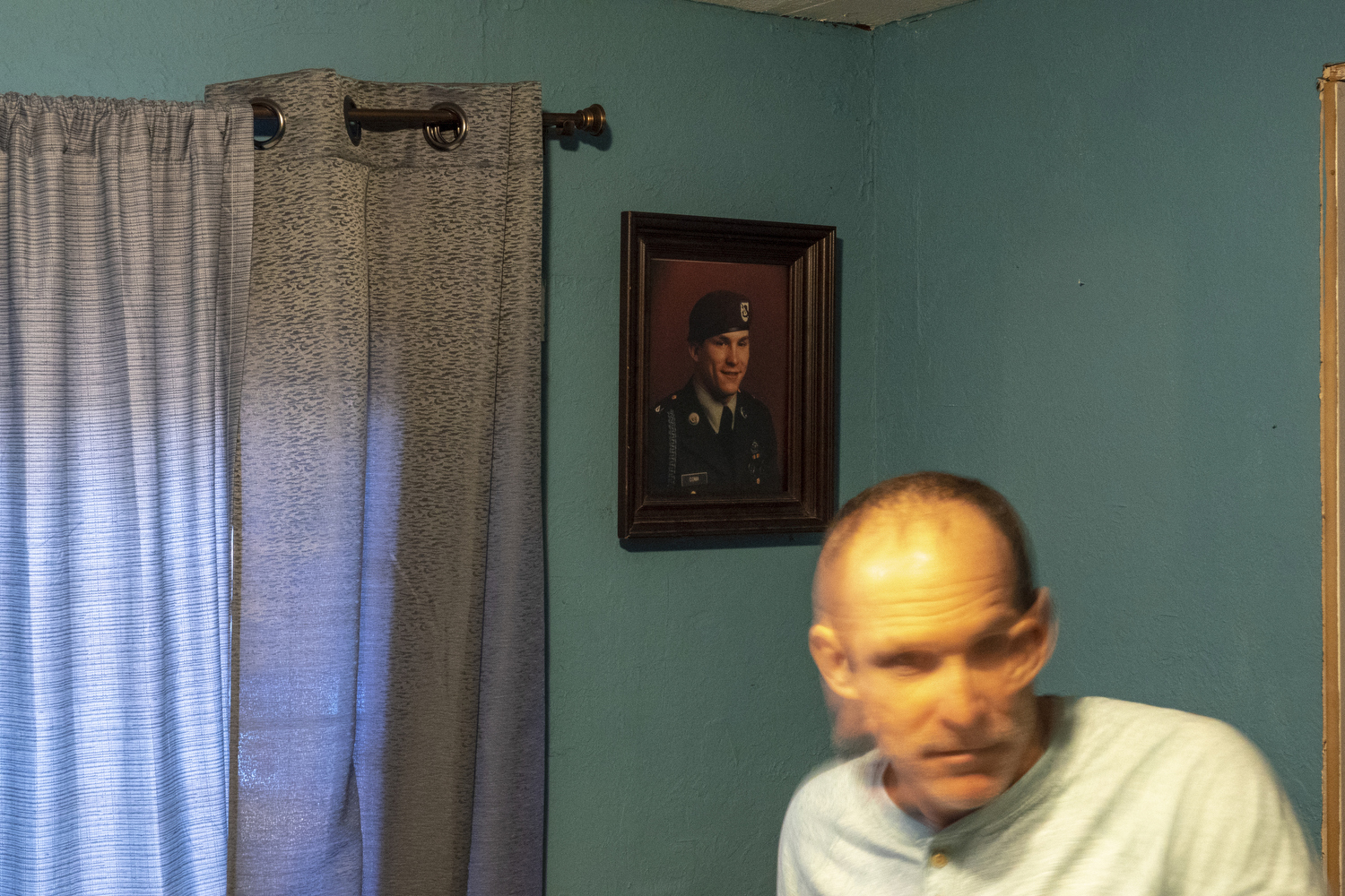 2019. Shelton, Washington. USA.  Chuck Coma in his room at his mother's home.