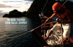 "-- This feature story, called ""Into the Depths of Raja Ampat"" is about the marine biodiversity of the Raja Ampat Islands in Indonesia.  Tim accompanied an expedition of Conservation International scientists to explore this remote region around the Western tip of the big island of New Guinea.-- See photos from this shoot in the RAJA AMPAT REEFS photo gallery.-- See the extensive online feature about this expedition including several slide shows of Tim Laman's images at the German GEO Website."