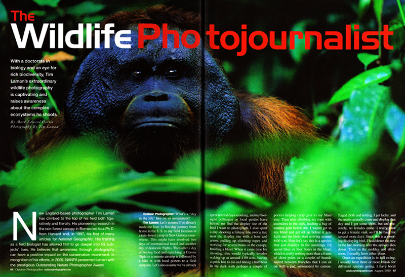 -- Tim was featured in this issue using 8 of his classic photographs.-- In the article, Tim answers questions about being a wildlife photojournalist.  You can read the article and see the photographs here.