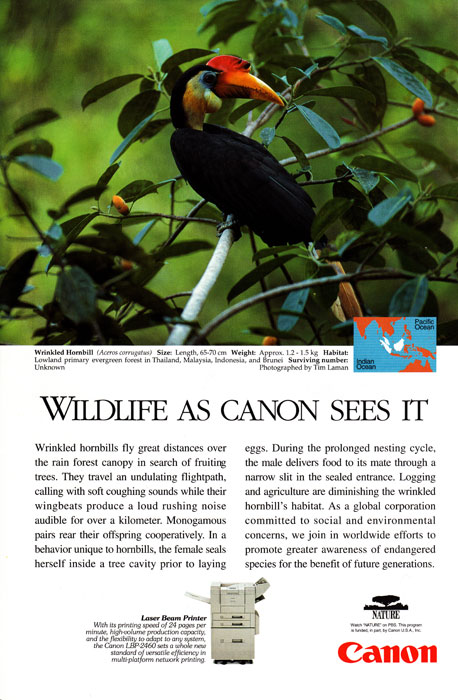Canon Ad in National Geographic - March 1998