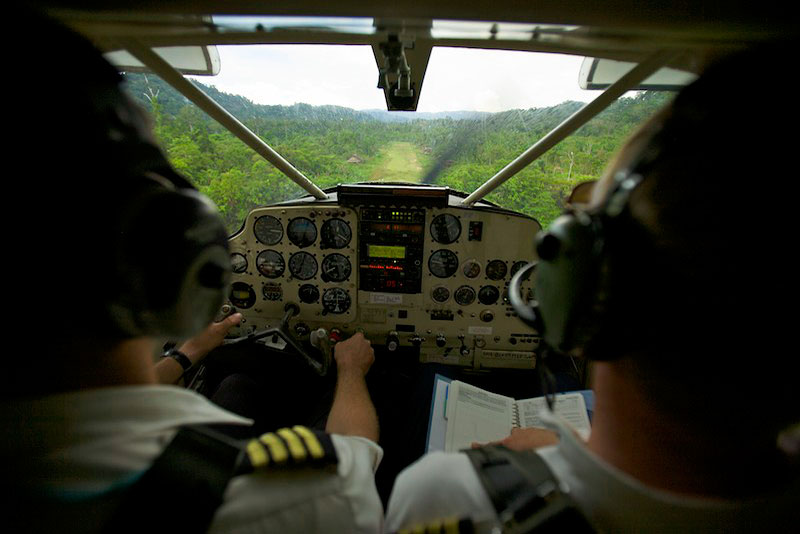 The expedition started with flying into the village of Kwemba before taking a helicopter to the bog in the Foja Mountains.