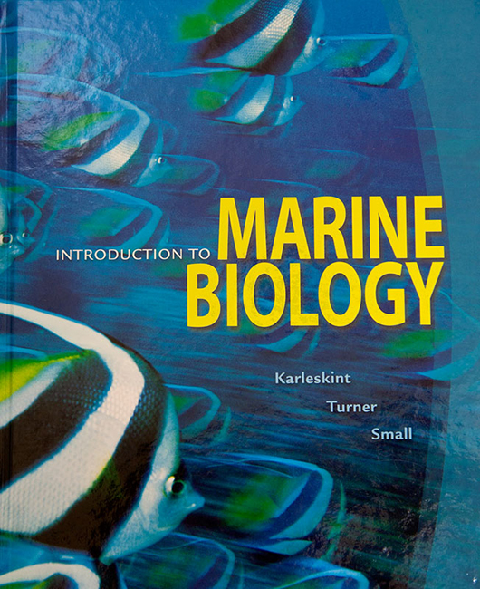 This textbook by Karleskint, Turner and Small takes an ecological approach to Marine Biology.  Tim's pictures of the schooling bannerfish is on the cover and most of the chapter openers are Tim's pictures as well.This textbook can be purchased at Amazon.com.