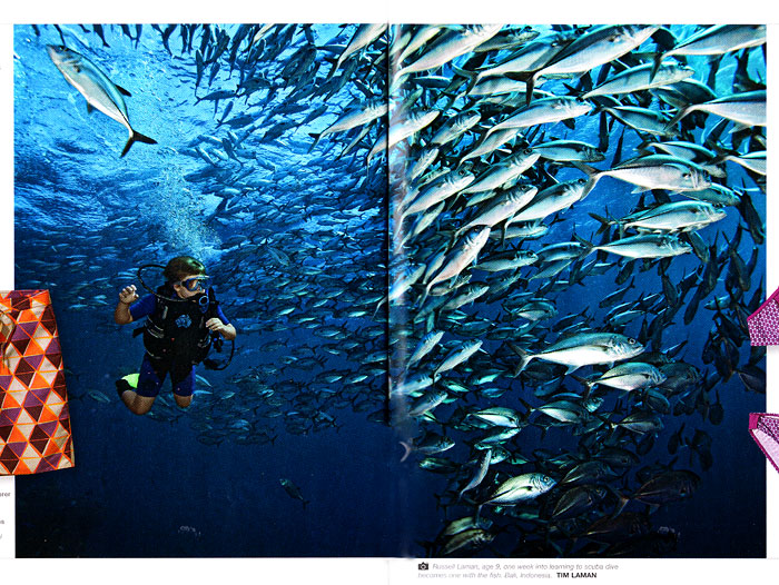 Tim's son Russell swims with the fish off shore in Bali.