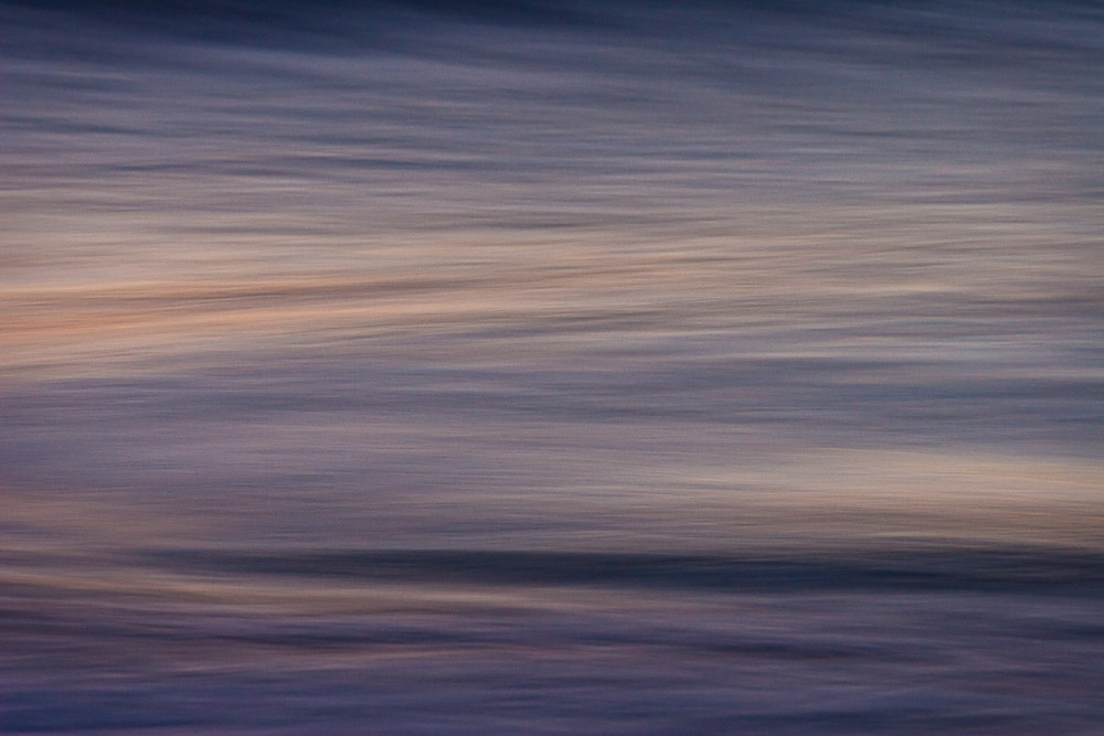 Motion blur study on a beach before sunrise, Chincoteague Island National Wildlife Refuge, Assateague Island, Virginia