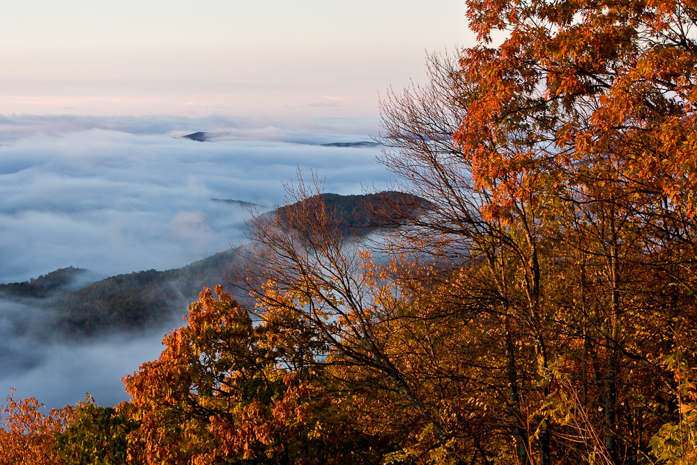 Looking Glass Rock at sunrise from Pounding Mill Overlook on the Blue Ridge Parkway near Brevard, North Carolina