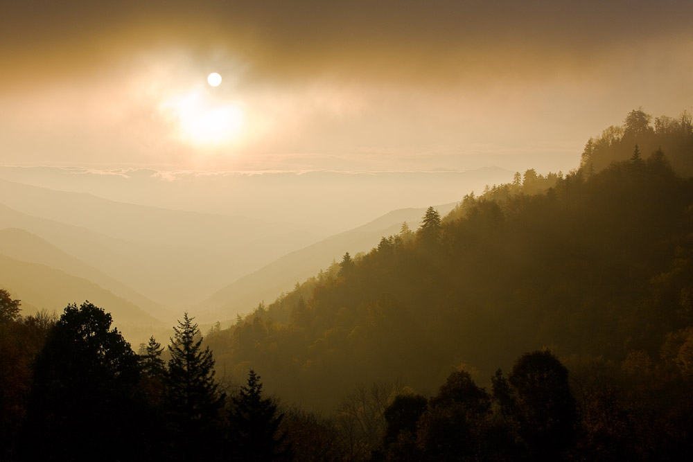 Sunrise from Luftee Overlook, Great Smoky Mountains National Park