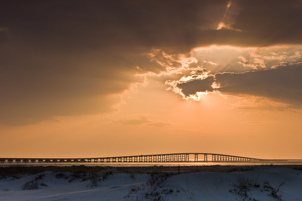 Sunset, Herbert C Bonner Bridge, Oregon Inlet, Pea Island, NC