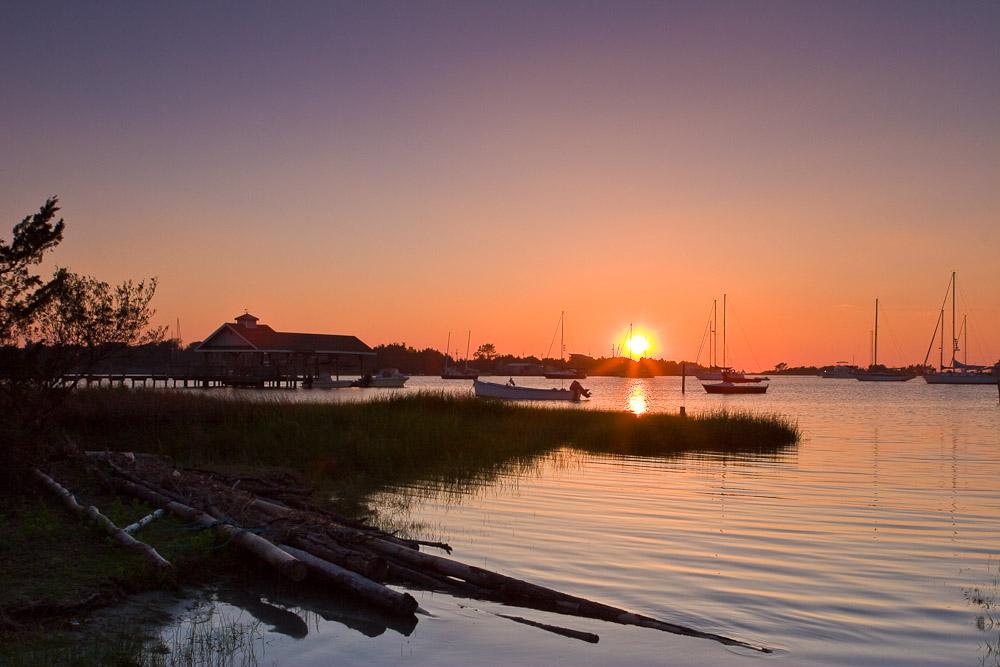 Sunset over Silver Lake, Ocracoke Island, NC