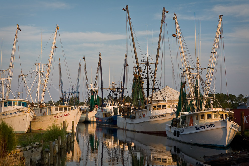 Shrimp trawlers on Far Creek near Englehard, North Carolina