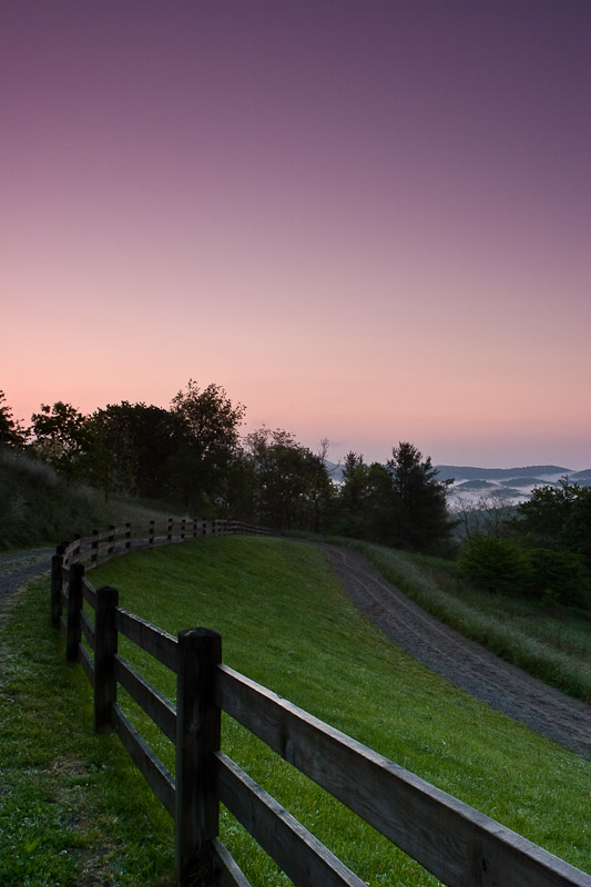 Sunrise at Cone Manor, Julian Price Memorial Park, Blue Ridge Parkway, North Carolina