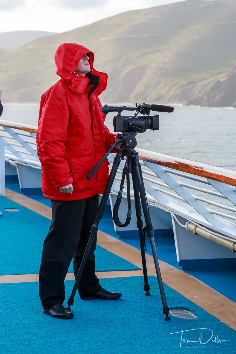 Videographer aboard Sea Princess departing from San Francisco, California