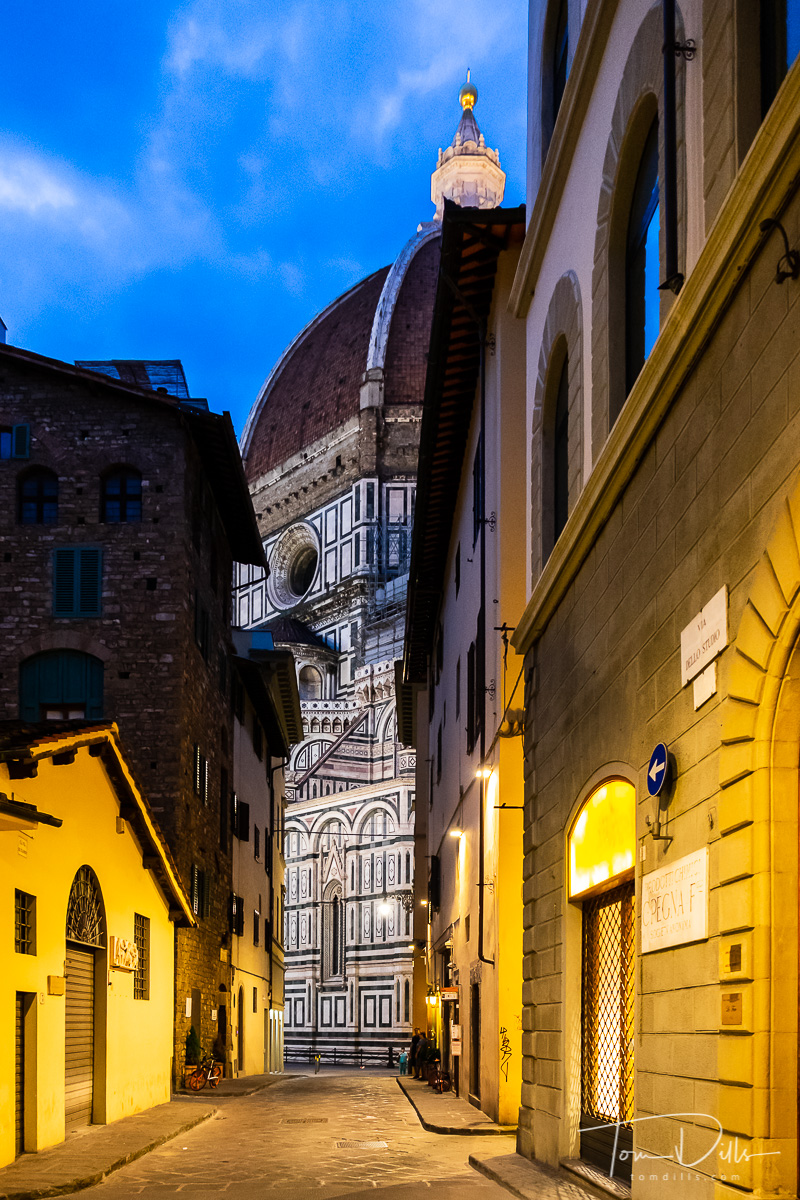 Walking around Florence Italy in the evening