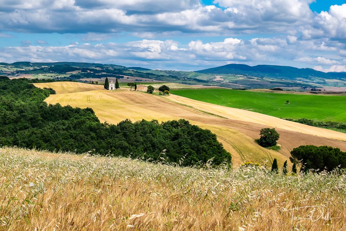 Chapel of the Madonna di Vitaleta in the Tuscan countryside near Vitaleta, Italy