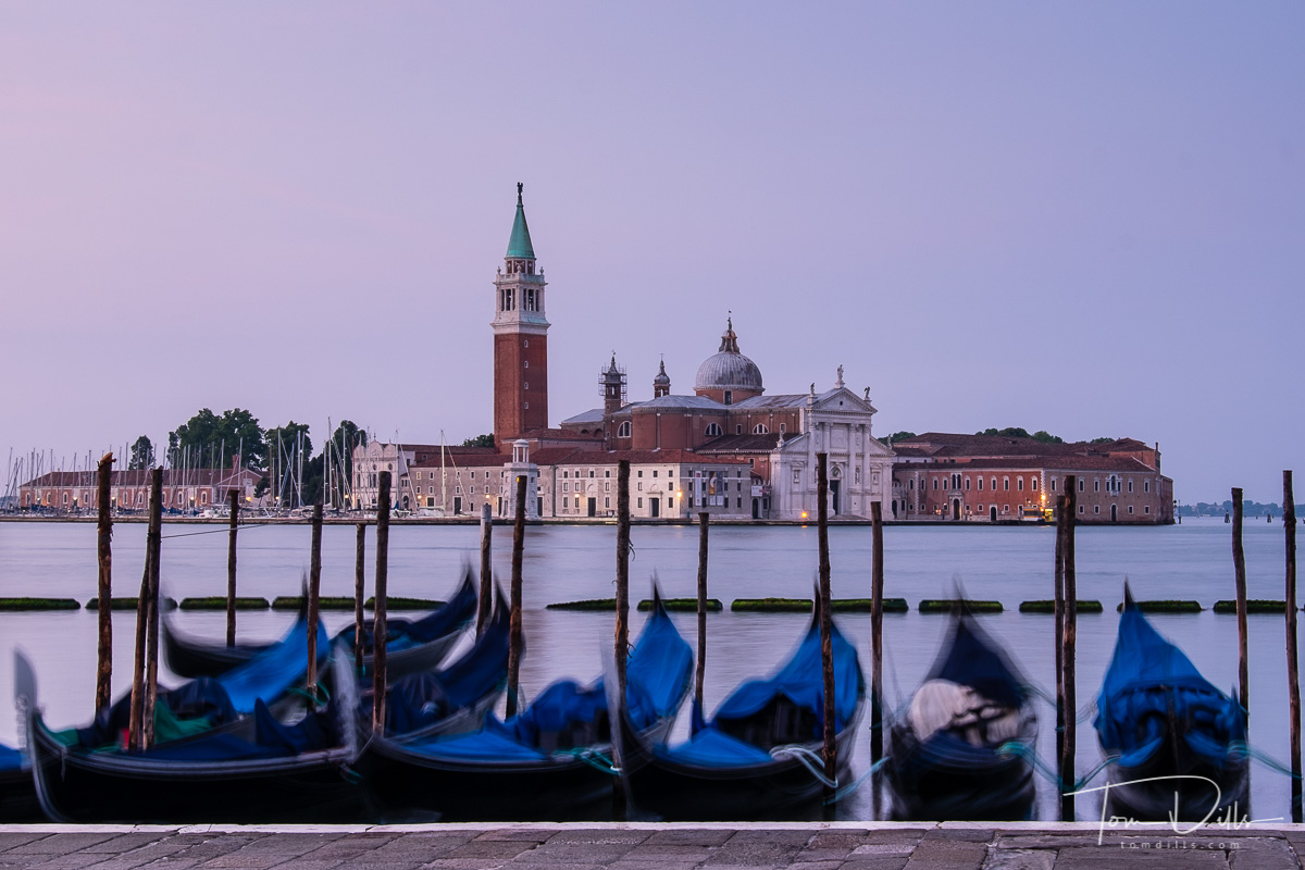 View of the Church of San Giorgio Maggiore across the Grand Canal in Venice, Italy