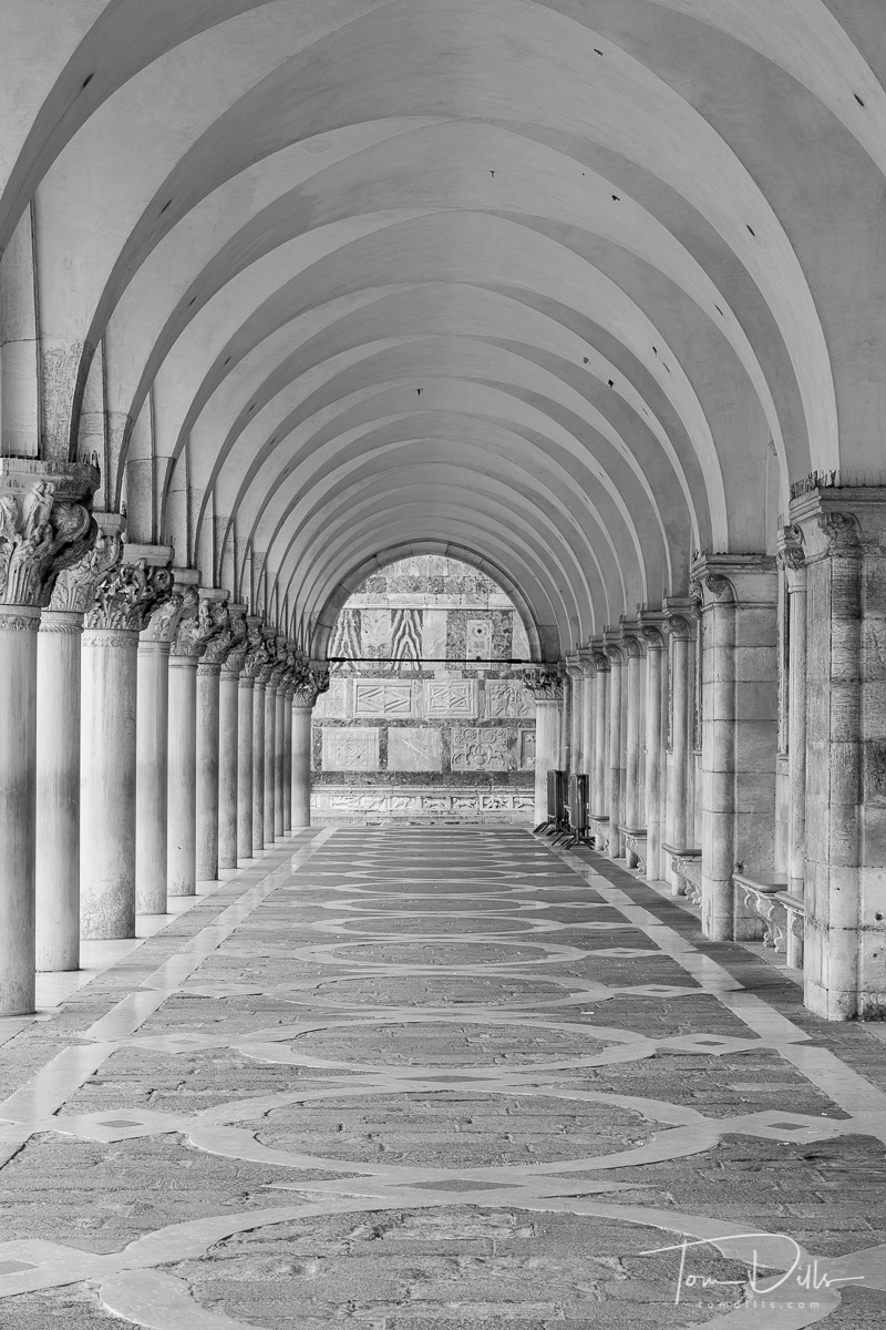 Columns and Arches at The Doge's Palace in Venice, Italy