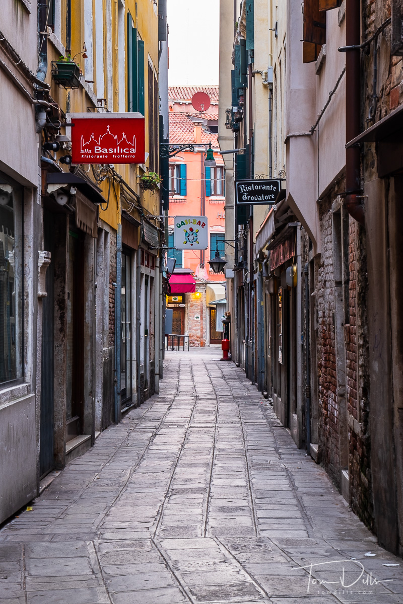Early morning, quiet street in Venice, Italy