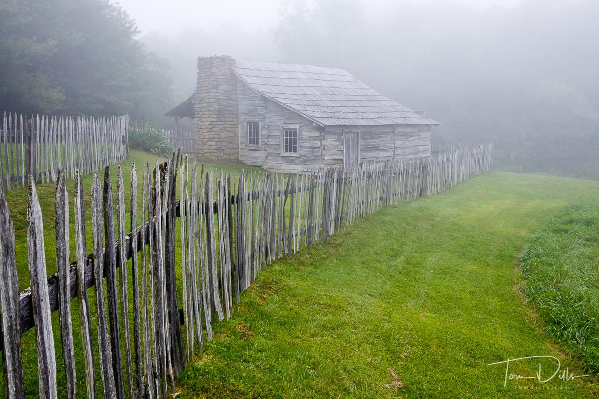 Foggy scene in Hensley Settlement,  Cumberland Gap National Historic Area, Kentucky