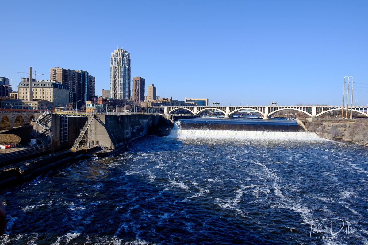 View of the Mississippi River from the Stone Arch Bridge in Minneapolis, Minnesota