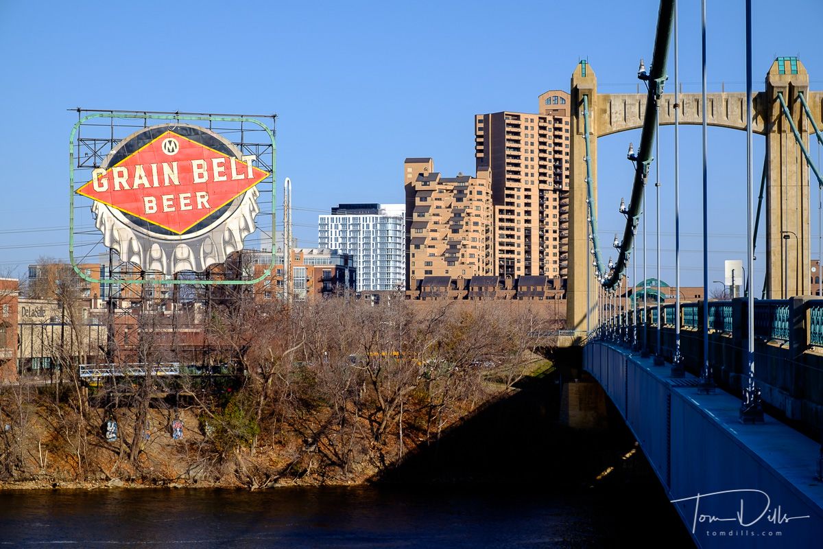 Hennepin Avenue Bridge over the Mississippi River in Minneapolis Minnesota