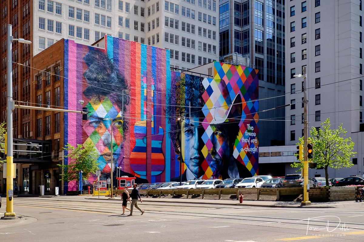 Bob Dylan mural in downtown Minneapolis