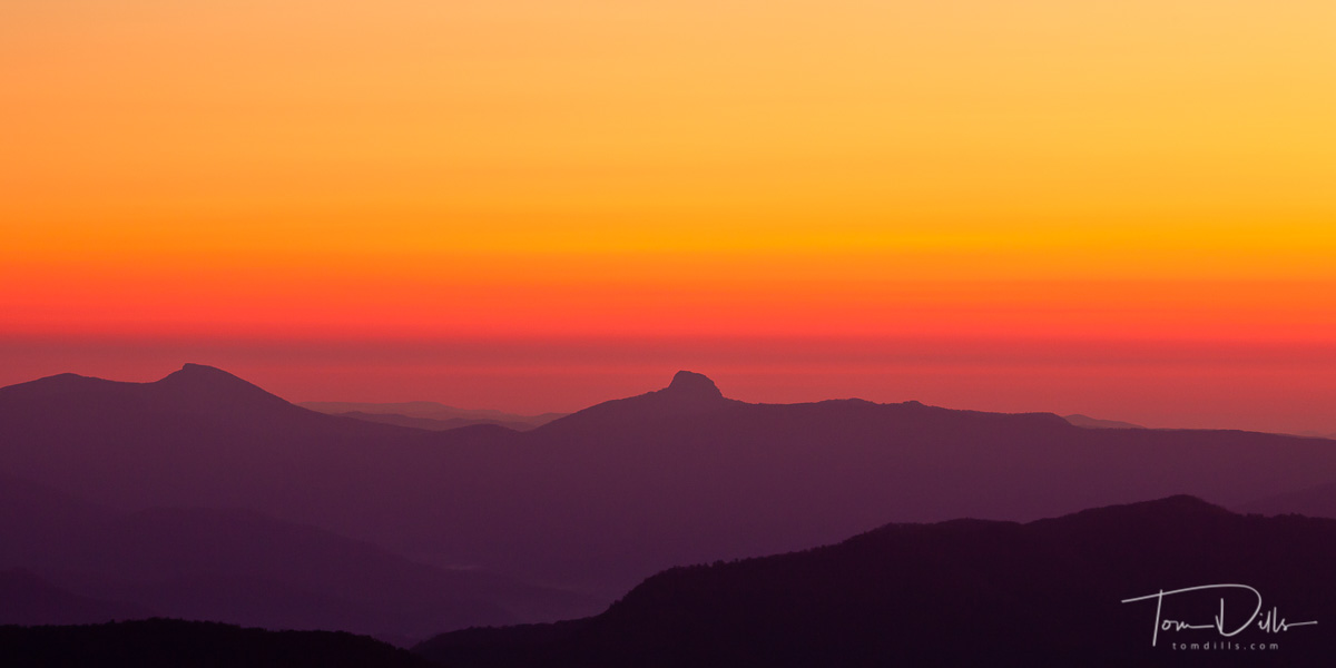 Table Rock and Hawksbill at sunrise on the Blue Ridge Parkway at Laurel Knob Overlook