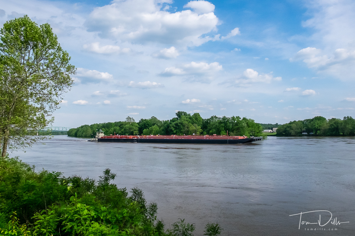 Barge on the Ohio River in Marietta, Ohio