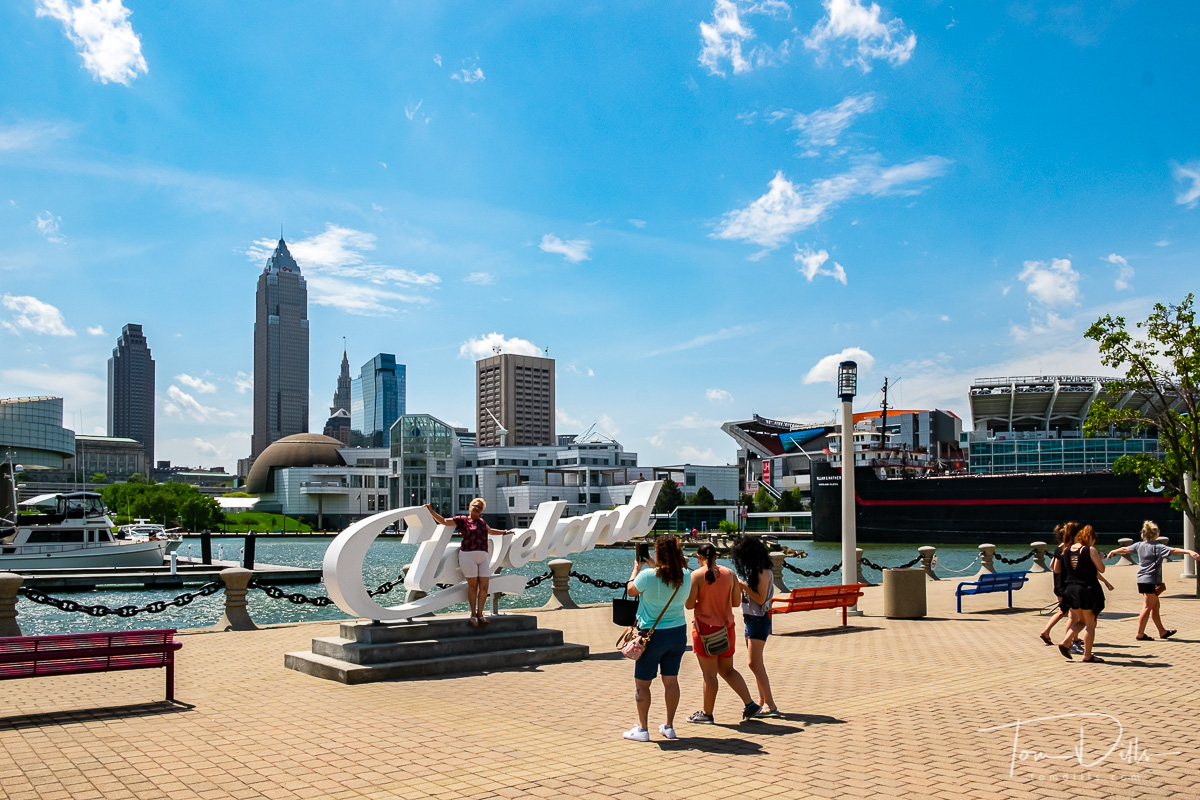 Cleveland skyline from Bicentennial Park in Cleveland, Ohio