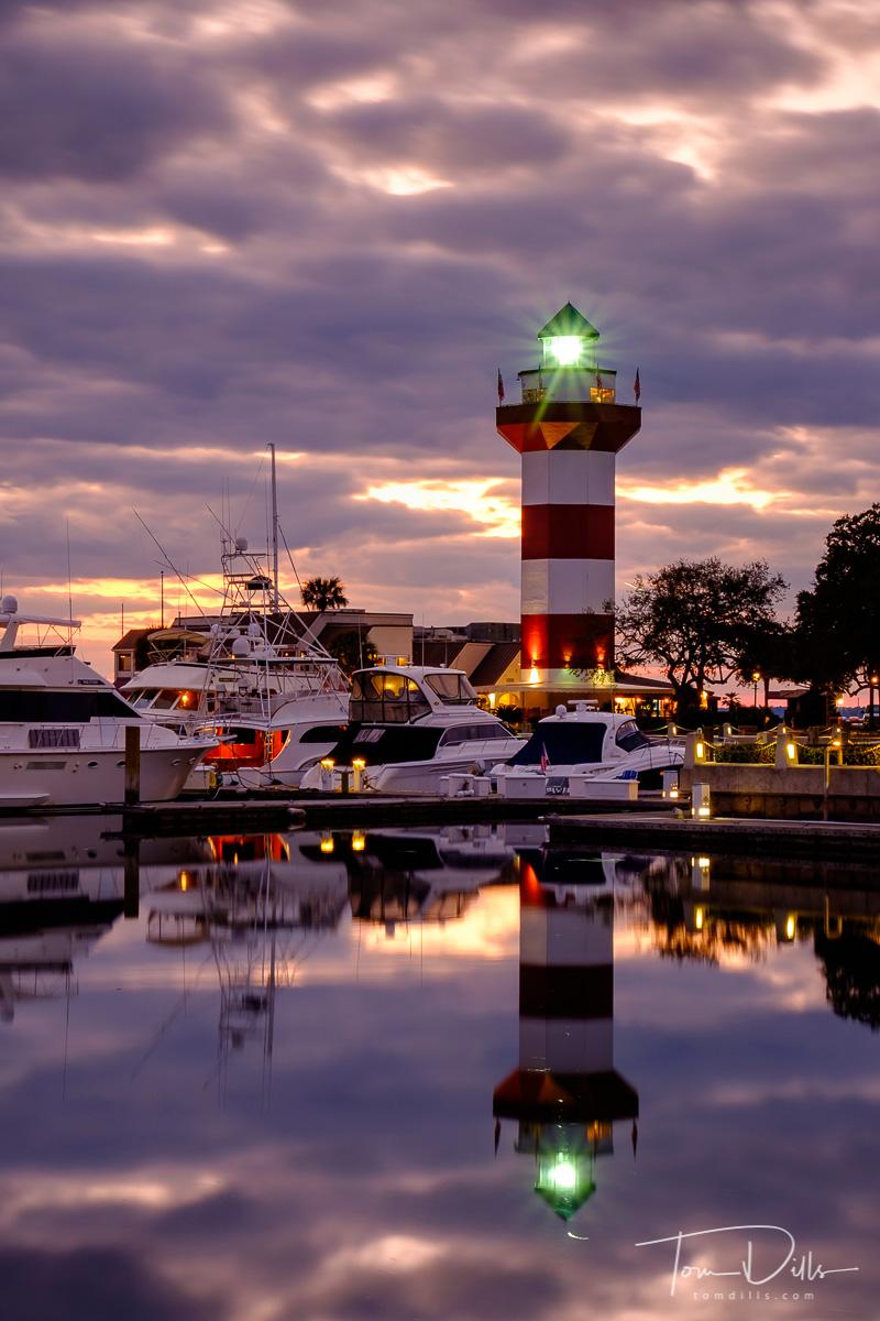 Harbor Town Lighthouse at Sunset, Sea Pines, Hilton Head Island, South Carolina