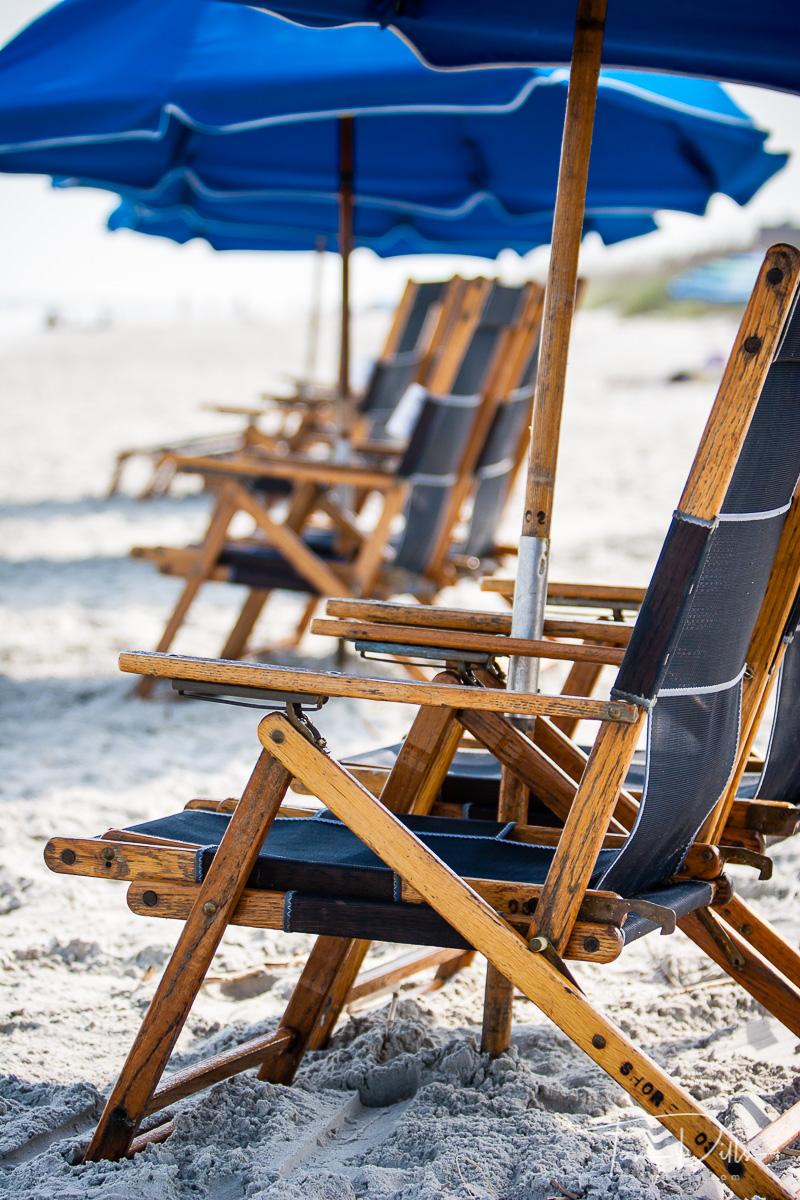 Beach chairs and umbrella, Hilton Head Island, SC