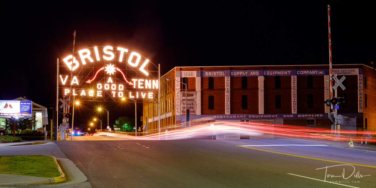 Bristol Sign Recognizing the City of Bristol in both Tennessee and Virginia.  The sign spans State Street, so the sign has a half in each state.