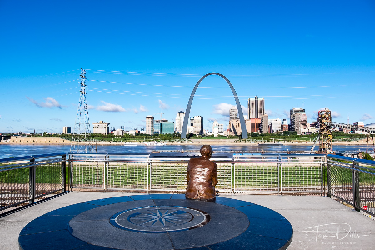 View of St Louis, Missouri from the Mississippi River Overlook in Malcolm W. Martin Memorial Park, East St. Louis, Illinois