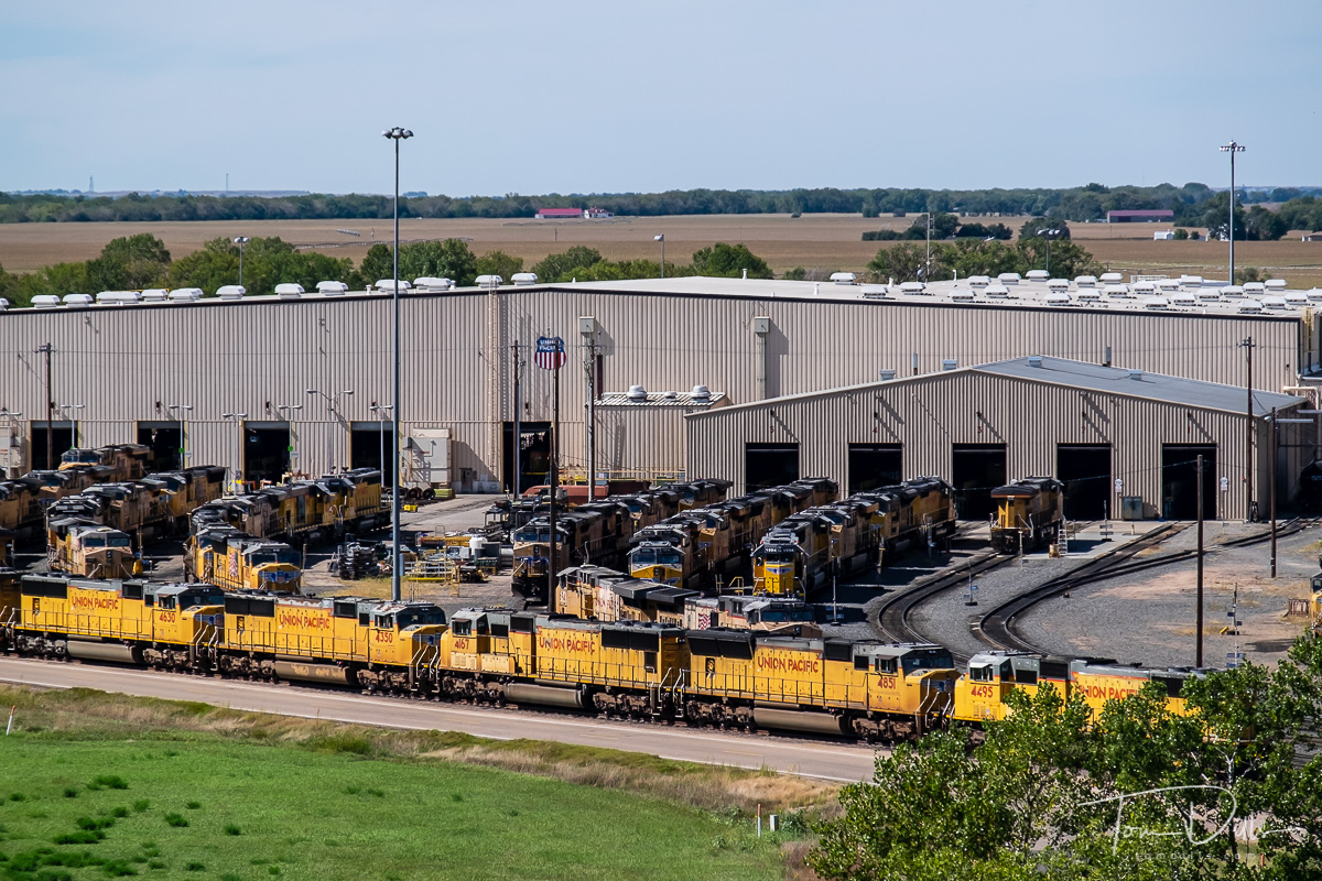 Golden Spike Tower at the Union Pacific's Bailey Yard in North Platte, Nebraska is the largest railroad classification yard in the world. Named in honor of former Union Pacific President Edd H. Bailey, the massive yard covers 2,850 acres, reaching a total length of eight miles. The yard is located in the midst of key east-west and north-south corridors, on the busiest freight rail line in America, making it a critical component of Union Pacific's rail network.