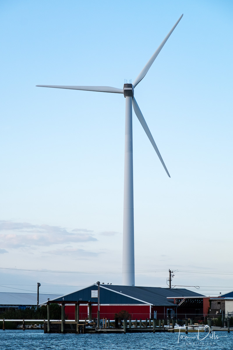 Wind turbine in Crisfield, Maryland.  When the turbine was erected in 2016 it was stated that at 302 feet tall it was not only the tallest structure in Crisfield, but the tallest wind turbine on the Eastern Shore