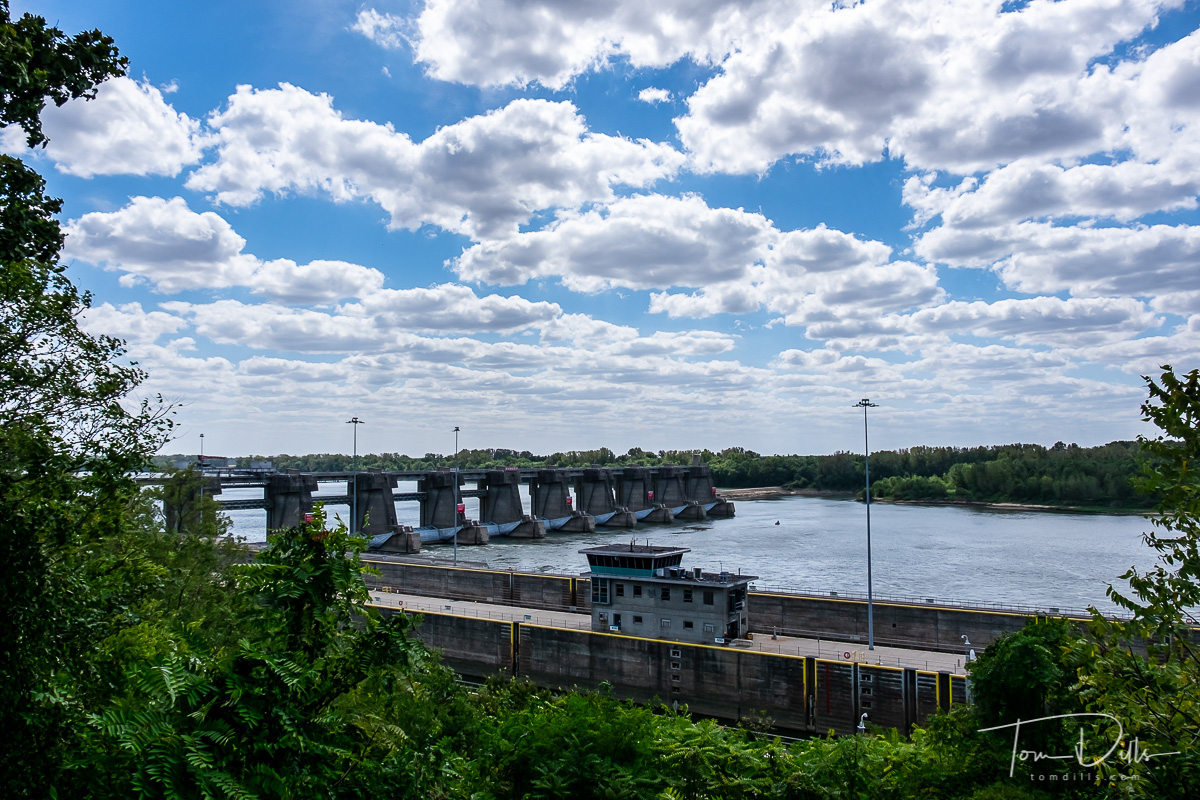 Newburgh Lock and Dam on the Ohio River seen from Overlook Park in Newburgh, Indiana