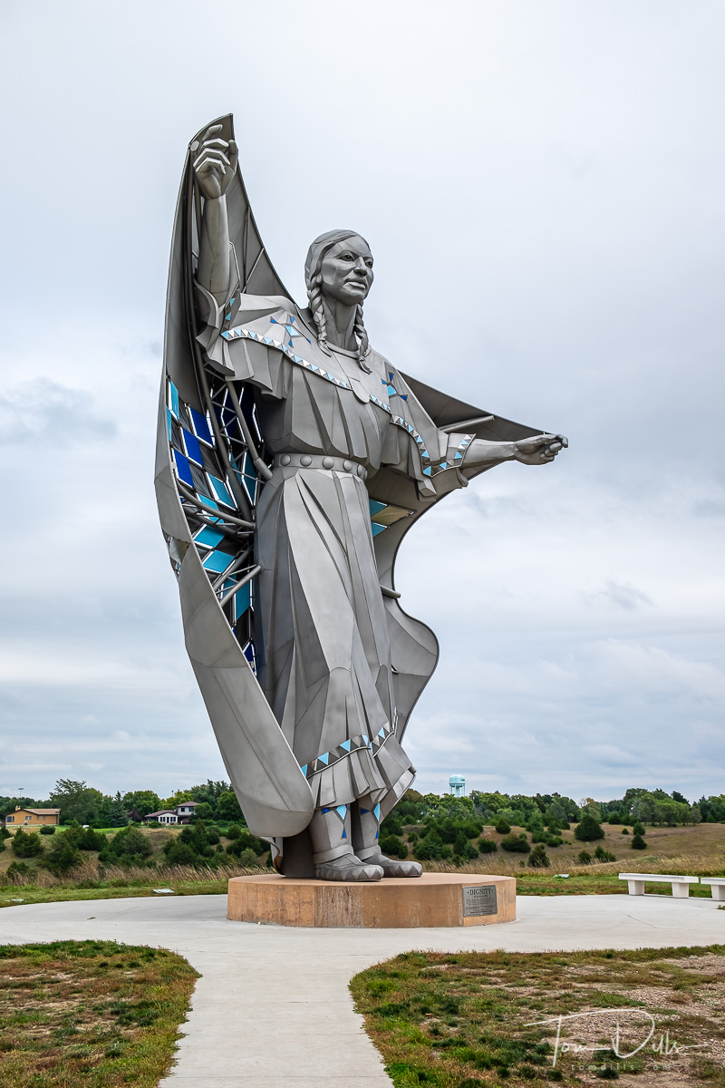 {quote}Dignity{quote} stainless steel sculpture at the Missouri River Overlook on I-90 near Chamberlain, South Dakota