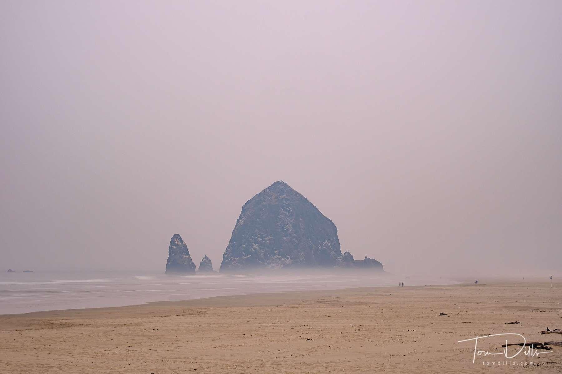 Foggy & smoky morning at Cannon Beach, Oregon