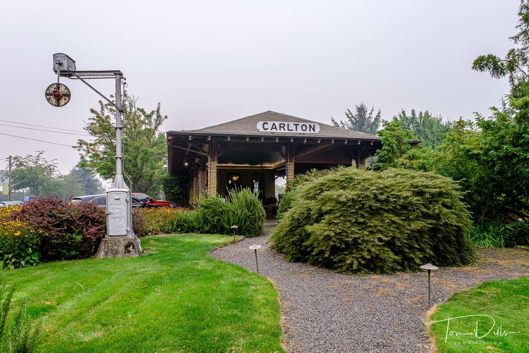 Ken Wright Cellars Winery tasting room in a restored train depot in Carlton, Oregon