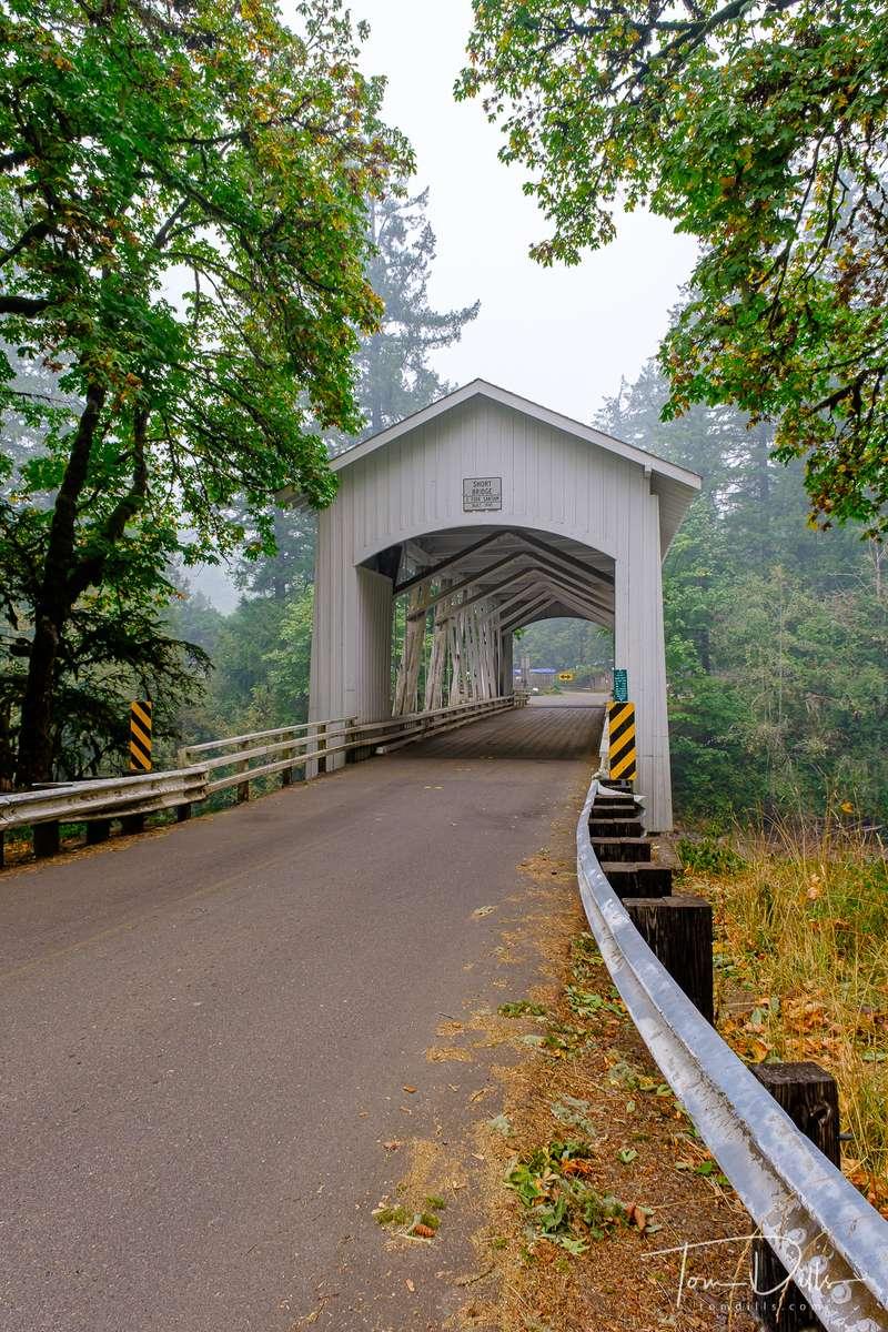 Short Bridge covered bridge on High Deck Road over the Foster River near Foster, Oregon