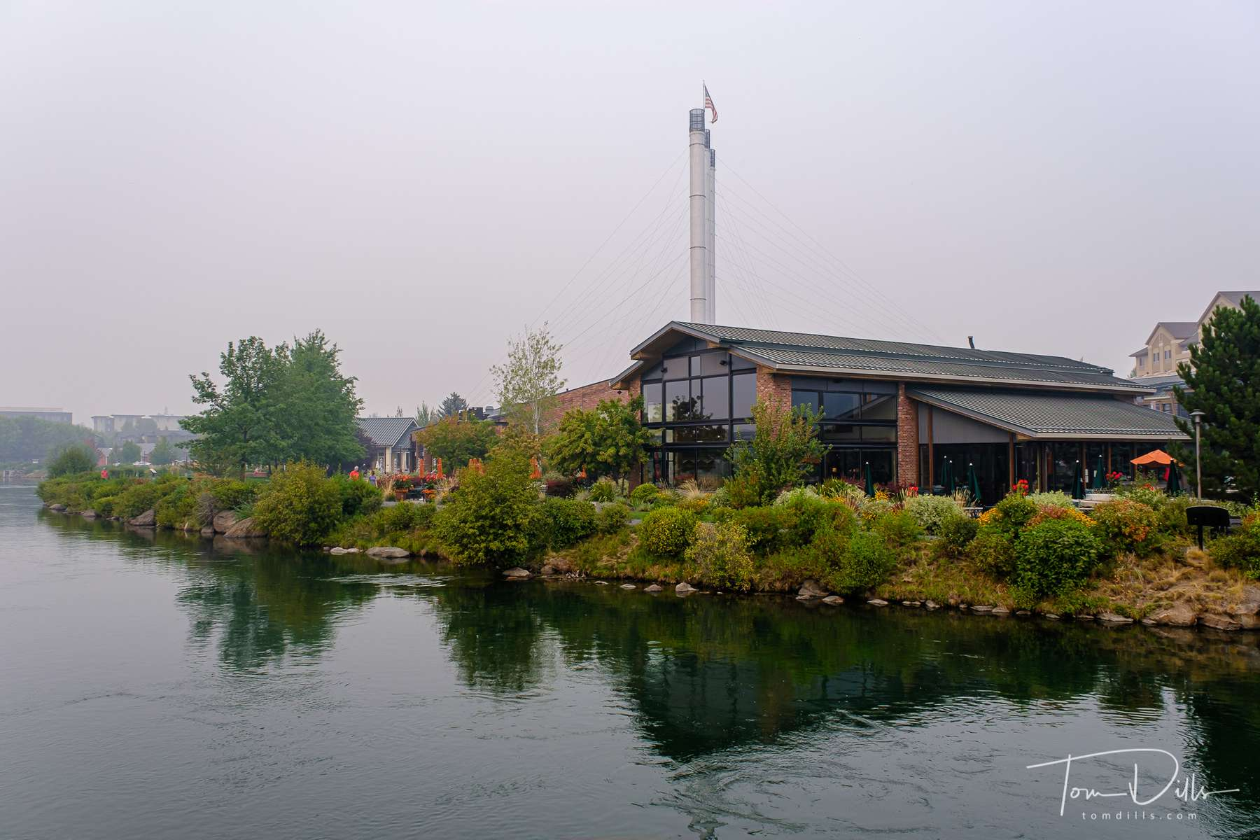 Shops at the Old Mill District along the Deshutes River in Bend, Oregon