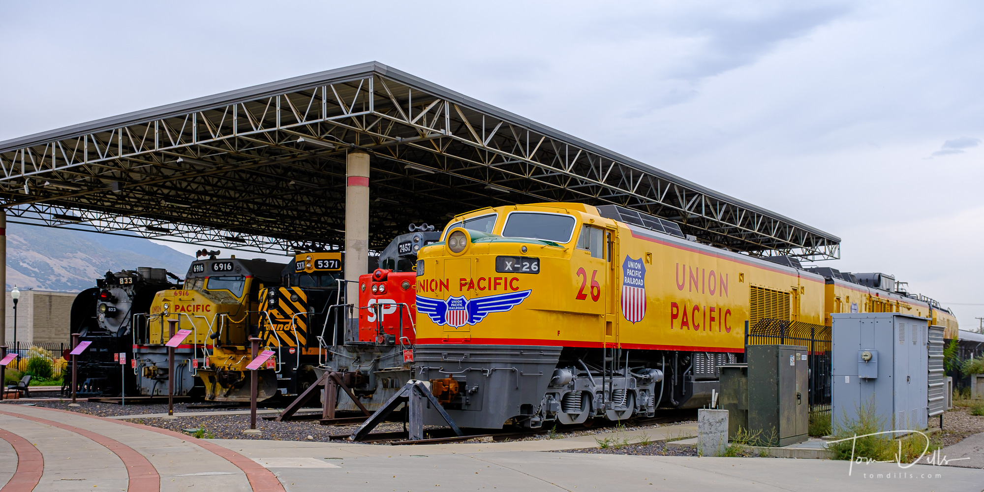 Retired Union Pacific locomotives on display at Union Station train depot and museum in downtown Ogden, Utah