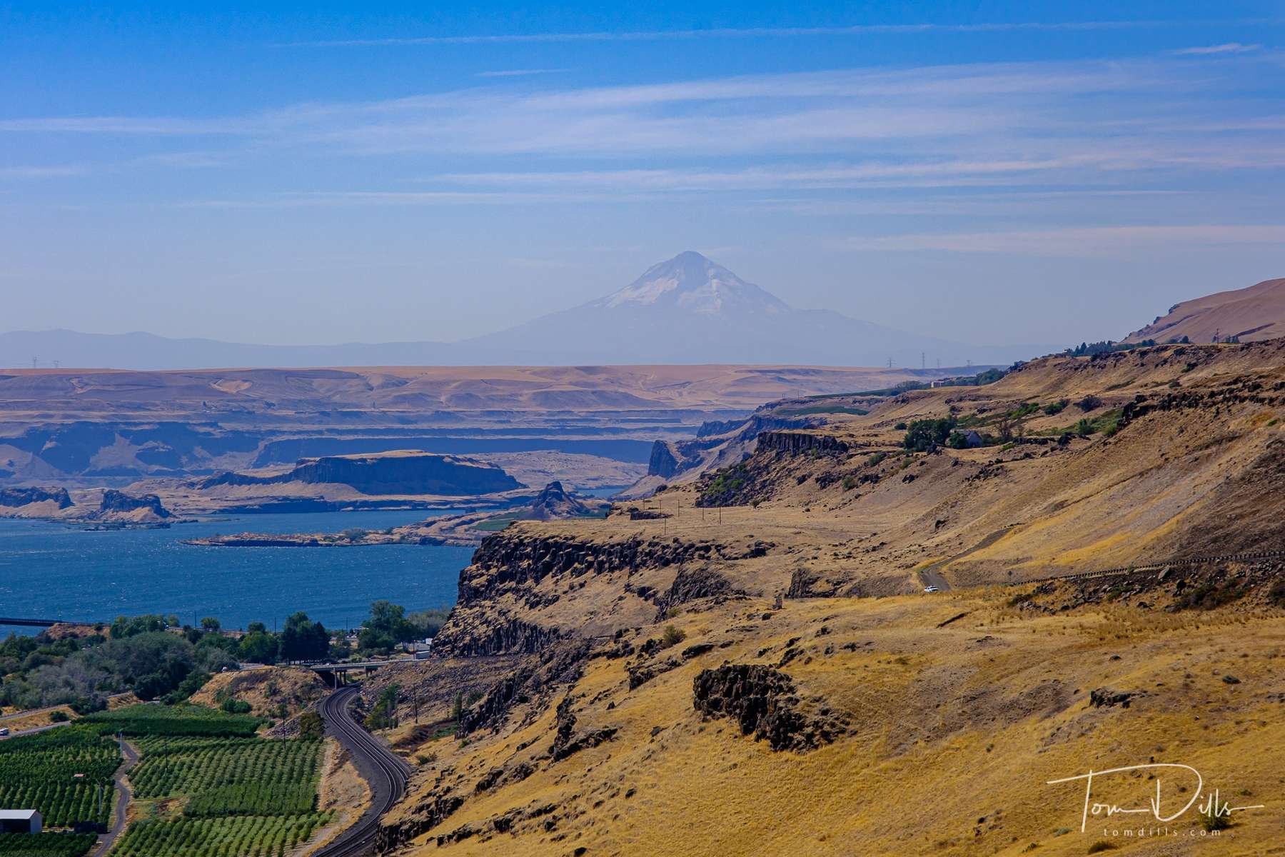 The Columbia River Valley from Stonehenge along SR-14 near Maryhill, Washington.  Mount Hood (Oregon) is in the distance.