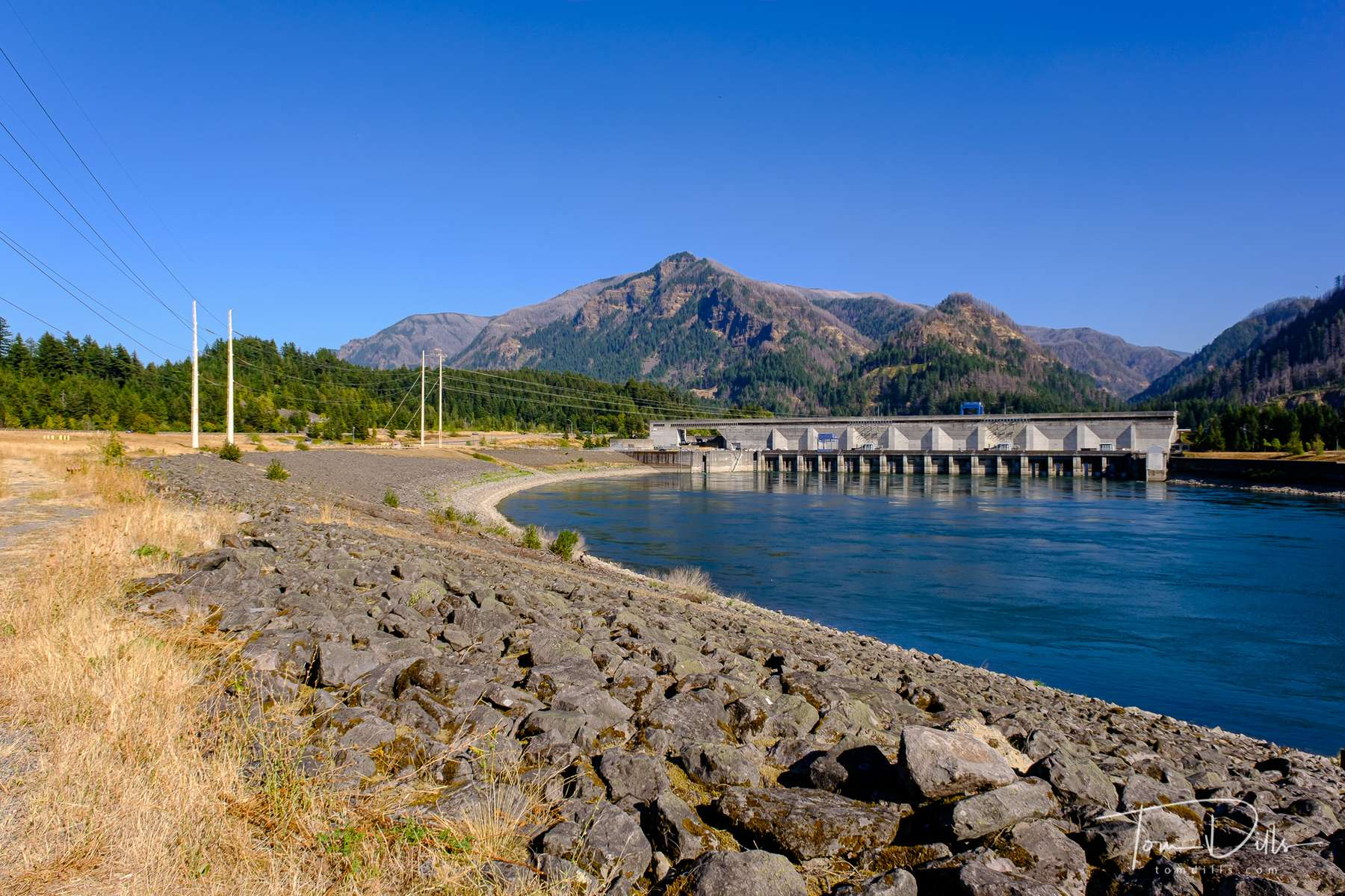 Bonneville Dam and Lock on the Columbia River near Bonneville, Washington