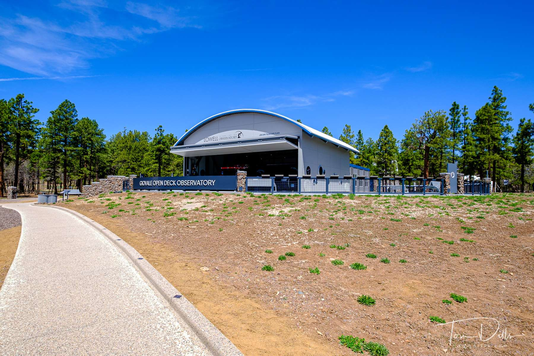 The Giovale Open Deck Observatory at Lowell Observatory in Flagstaff, Arizona.  A unique feature of the observatory is that in order to expose the instruments to the night sky, the building itself retracts to the rear, opening the deck to the sky.