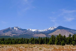 View of the San Francisco Peaks range near Flagstaff, from Sunset Crater Volcano National Monument in Arizona