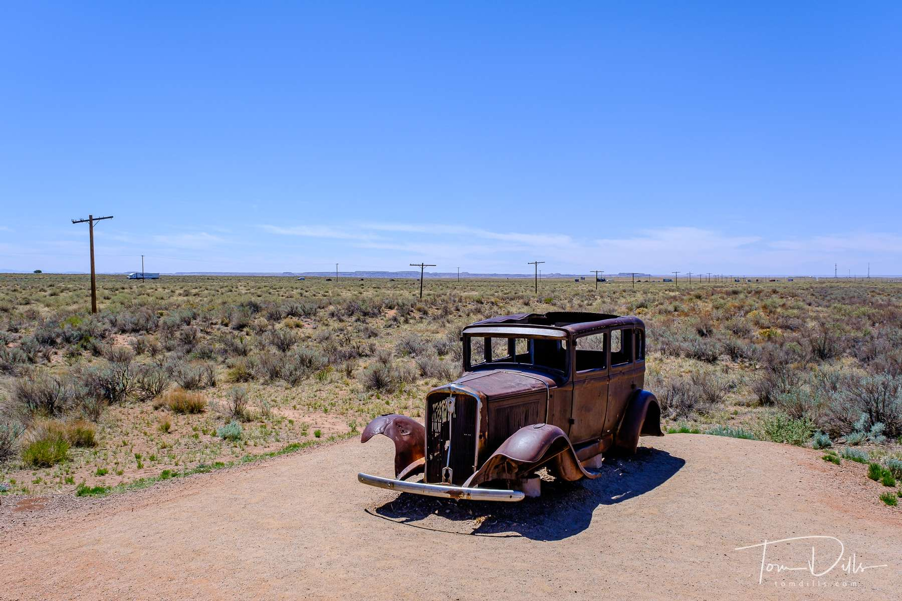 Exhibit at the place where the original route of Route 66 crosses the Petrified Forest Road in The Painted Desert, part of Petrified Forest National Park in Arizona