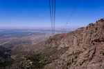 Riding the Sandia Peak Tramway to an elevation of 10,378 feet.