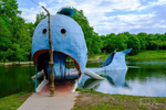 The Blue Whale of Catoosa, a Route 66 roadside attraction in Catoosa, Oklahoma