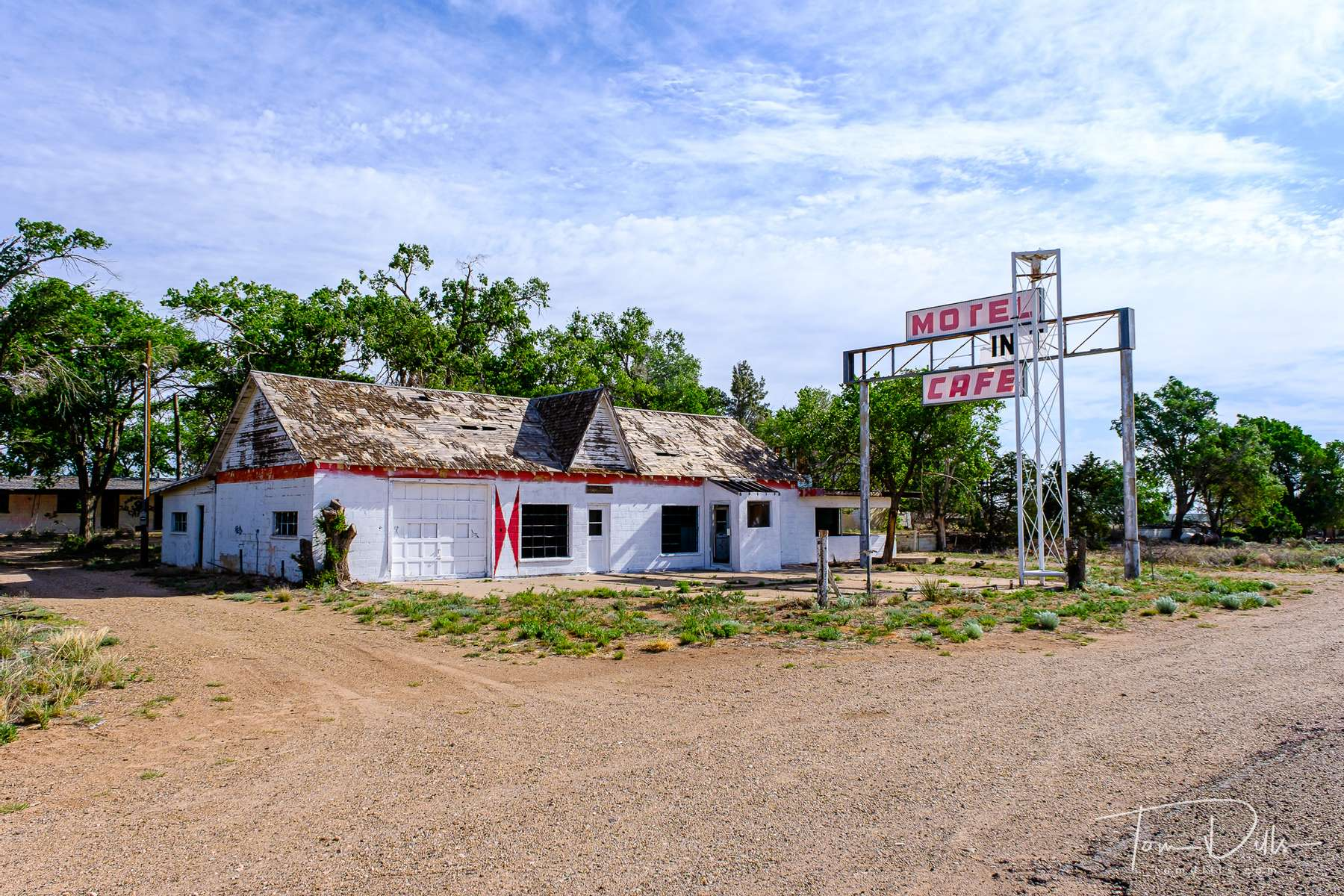 Abandoned motel and restaurant on Historic Route 66 at the New Mexico-Texas border