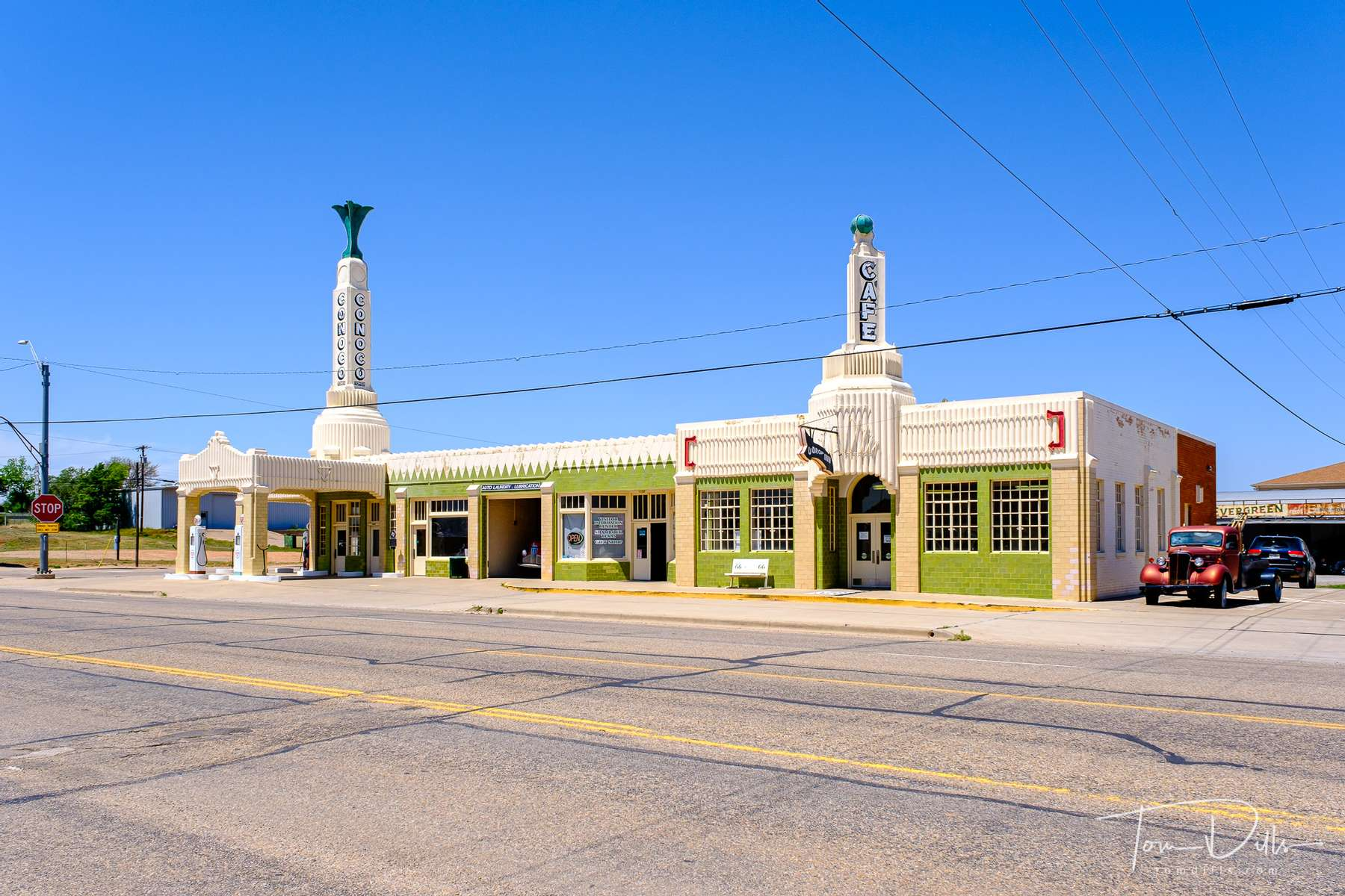 {quote}Conoco Tower Station{quote} Old gas station currently occupied by the local tourist information center on Historic Route 66 in Shamrock, Texas