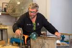 Glass blowing demonstration at Vecchia Murano glass studio in Venice, Italy